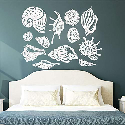 yuandp Shell Bad Vinyl Muurtattoo babykamer kinderkamer nautische kunst behang afneembare schaal decoratieve muurschildering 73x57cm AB