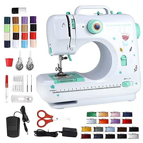 Kacsoo Mini máquina de coser eléctrica portátil con 12 puntadas incorporadas, bordado a mano, overlock, máquina de coser rápida LED, herramienta de costura con costura inversa, 3 hilos