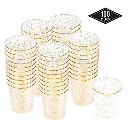 100 Hartplastik Schnapsgläser mit Goldglitter, 6cl/60ml| Einweg & Wiederverwendbare Shotgläser aus Kunststoff| Shotbecher für Schüsse Jello Shots Desserts Verkostung Partys Geburtstage Hochzeiten.