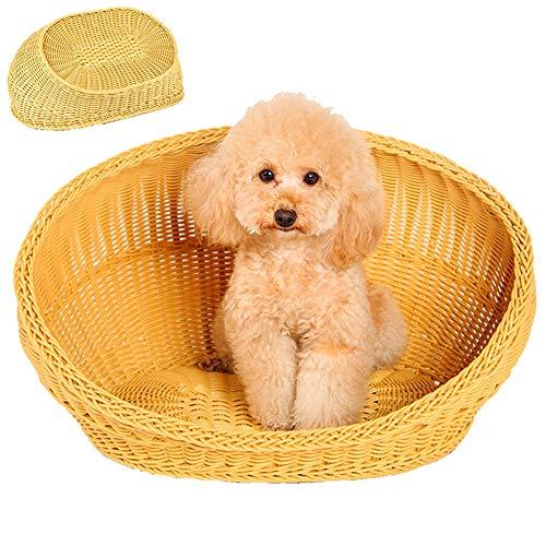 ZWW rieten kat en hond bed, rotan huisdier grot, wasbaar vier seizoenen universele huisdier warm mandje, zonder matras XS/S/M/L/XL