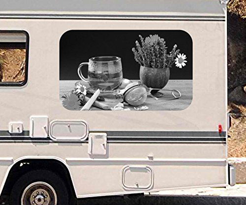 3D Autoaufkleber Kräutertee Tee Tasse Blumen Margerite Kräuter Küche schwarz weiß Wohnmobil Auto Fenster Sticker Aufkleber 21A1131, Größe 3D sticker:ca. 45cmx27cm
