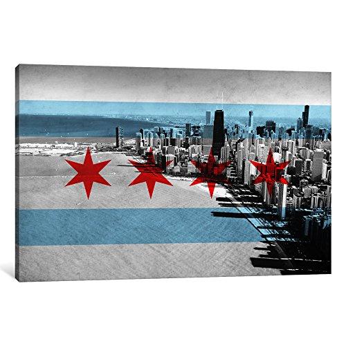 iCanvasART 1-Piece Chicago Flag Chicago Skyline Canvas Print...