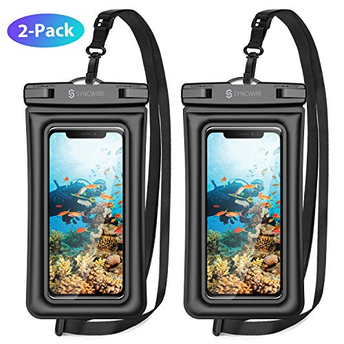 Syncwire Waterproof Phone Pouch, 2 Pack IPX8 Universal Waterproof Case Underwater Dry Bag Compatible with iPhone 11 Pro XS Max XR X 8 7 6s Plus SE Galaxy S10 S9 Note 10 Google Pixel Up to 7""