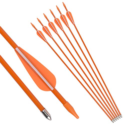 NIKA ARCHERY Fiberglass Arrows Youth Kids Practise Recurve Bows Compound Bow Shooting 6 pcs 26 inch Shafts