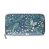 Monedero de verano con diseño de hierbas y mariposas, para mujer, con múltiples ranuras