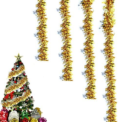 Ghirlanda di Orpelli Natalizi,Ghirlanda di Natale Tinsel Ghirlanda di Natale da Parete per Porta Metallo Scintillante Decorazione Appesa per Feste,Addobbi,Alberi di Natale 4PCS (2 m ciascuna) (Oro)