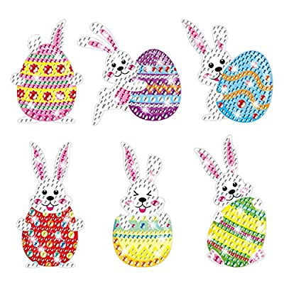 Gem Diamond Painting Stickers Kit for Kids,5D Diamond Art Mosaic Stickers by Numbers Kits Crafts Set for Children, Boys and Girls,Creative Handmade Art Craft Easter Decorations Gift(Bunny with Egg)