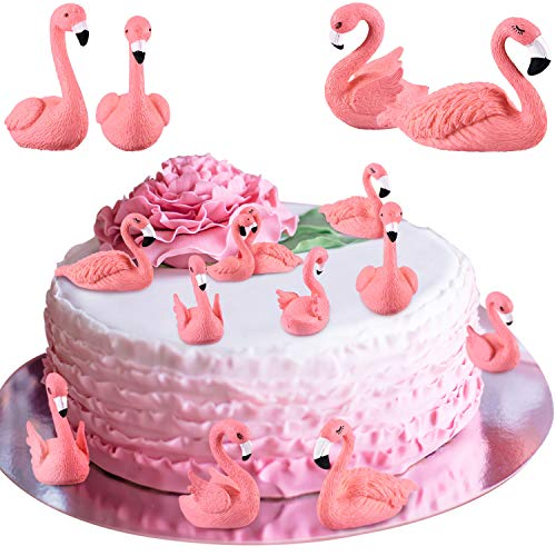 25 Pieces Flamingo Cake Decorations Mini Flamingo Miniature Figurines DIY Handmade Decor Ornaments with 3 Different Styles for Flamingo Party Bridal Wedding Car Accessories