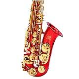 QuRRong Saxofón Alto E-Flat Saxophone Lacado Gold Principiante Saxofón Rojo para Concierto Escolar (Color : Red, Size : One Size)