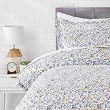 AmazonBasics Microfiber 2-Piece Quilt/Duvet/Comforter Cover Set - Single (66x90-inch), Blue Floral - with pillow cover