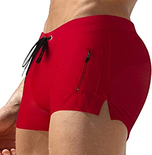 TONLEN Mens Swimwear Short Swim Trunks with Zipper Pocket