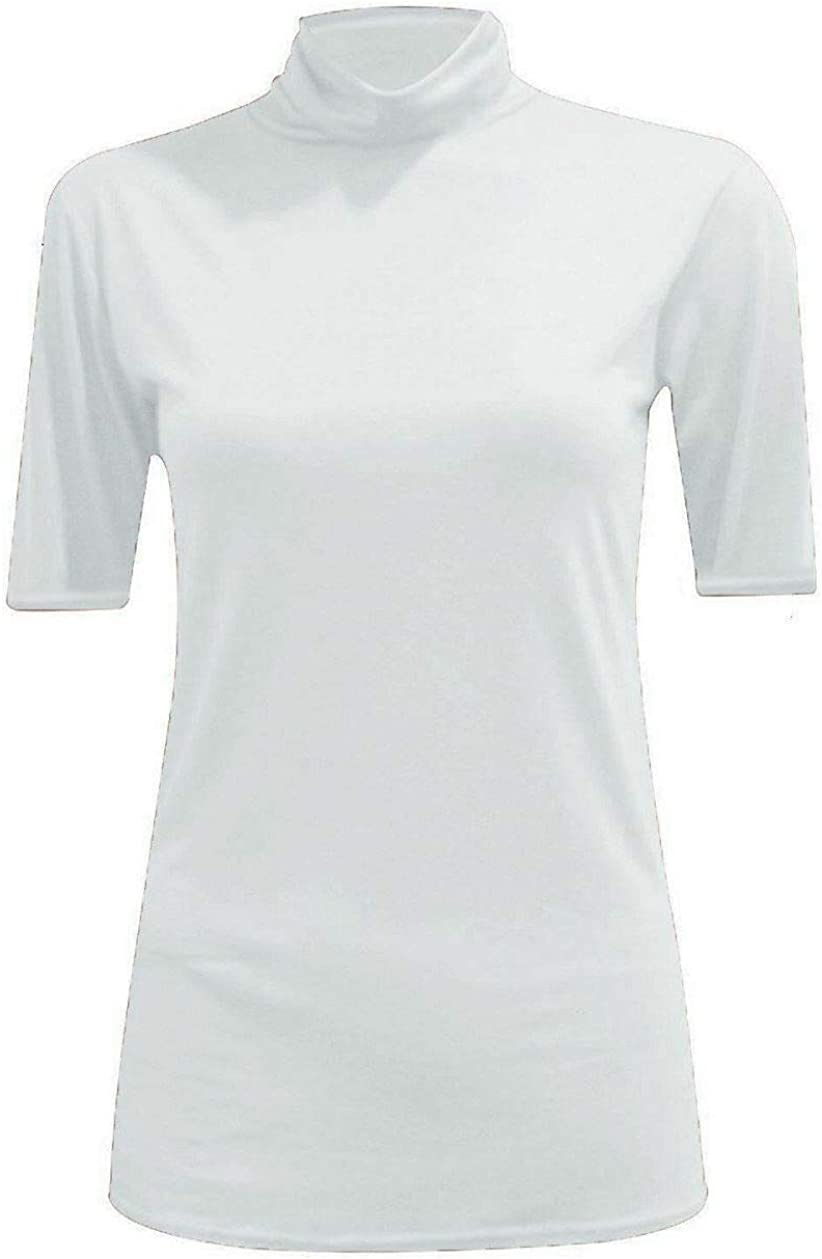Womens Short Sleeve Turtle Polo Neck T-Shirt Stretchy Plain Casual Basic Tops