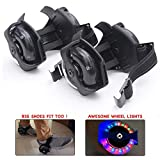 Wembley Toys Street Gliders Adjustable Roller Skates, LED Light-up Wheels (2 Wheels) for Adults & Kids (Black)