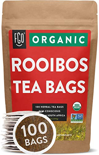 Organic Rooibos Tea Bags | 100 Tea Bags | Eco-Conscious Tea Bags in Kraft Bag | Raw from South Africa | by FGO