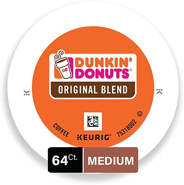 Dunkin Donuts Original Blend Coffee K Cup Pods Medium Roast For Keurig Brewers 64 Count