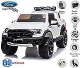 BC BABY COCHES Coche eléctrico para niños Ford Ranger Raptor 2 PLAZAS, Mando Control Remoto Teledirigído, Ruedas Caucho, Asiento Acolchado + Polipiel, Batería 12v (Blanco)