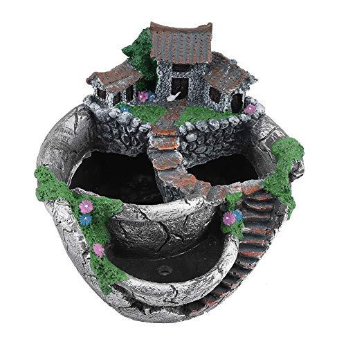 Ybzx Bonsai Olla Adornos de Resina Hermosa Olla de Resina Decoración de Mesa para Oficina Hogar Jardín (Plata Antigua)