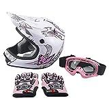 WINHOD DOT Approved Youth Off-Road Helmet+Goggles+Gloves,Lightweight and Maximum Ventilation Kids Dirt Bike Helmet Secured w/D-Ring,Pink Butterfly,Medium.(a.k.a ATV Mx Helmet,Motocross Helmet)
