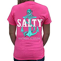 Southern Attitude Pirate Anchor Pink Preppy Short Sleeve Tee Shirt