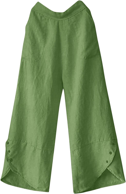 USYFAKGH Women's Pants Wide-Leg Pants Pajama Pants High Waist Large Size Loose Pocket Buttons Irregular Casual Pants