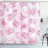 ABAKUHAUS Rose Duschvorhang, Blumengarten Victorian, Seife Bakterie Schimmel & Wasser Resistent inkl. 12 Haken & Farbfest, 175 x 200 cm, Weiche Rosa