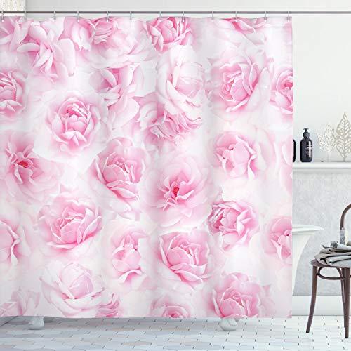 ABAKUHAUS Rose Duschvorhang, Blumengarten Victorian, Seife Bakterie Schimmel und Wasser Resistent inkl. 12 Haken und Farbfest, 175 x 200 cm, Weiche Rosa