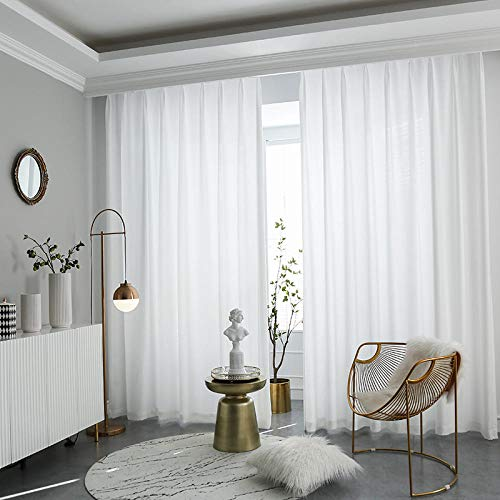Bryights Gardinen Hochwertige Weiße Halb Zerquetschte Transparente Vorhänge Für Wohnzimmerfenster Einfarbige Lange Tüll Schlafzimmer Vorhang Voile Party Vorhänge-B100Xh250Cm 1Stück_Faltenband Ziehen