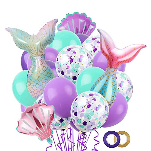Mermaid Tail Balloon,Mermaid Theme, Under The Sea Party Decoration Birthday Supplies, Mermaid Tail Sea Shell Foil Balloons,Mermaid Design Latex Balloons for Let's Be Mermaids Party