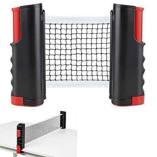 YUANXIASM Red de Ping Pong Ajustable,Red de Tenis de Mesa Retráctil, Soporte de Ping Pong Portátil para Escritorio de Oficina, Cocina o Mesa de Comedor (Rojo Negro)