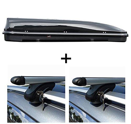 VDP Dachbox 460 Liter Relingträger Alu kompatibel mit VW Passat Variant B7 10-14 abschließbar