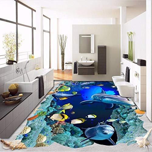 3D enorme onderwaterwereld dolfijn tropische vis badkamer keuken aquarium decoratie wandbehang PVC zelfklevend 300cm(L)x210cm(W)