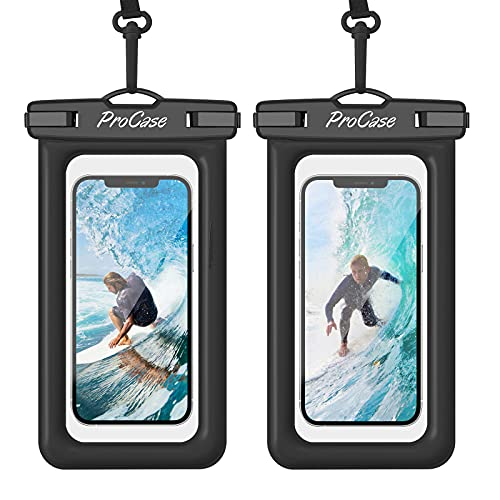[2 uds] ProCase Funda Impermeable Móvil Flotante, Bolsa Estanca para iPhone 12 Pro MAX 11 XS XR 8 7 Plus Galaxy Pixel Huawei Honor Xiaomi Redmi, Certificado IPX8 para Móviles hasta 7' -Negro