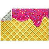 Bennigiry, tappeto morbido con gelato alla fragola fuso e topping su waffle antiscivolo, g...