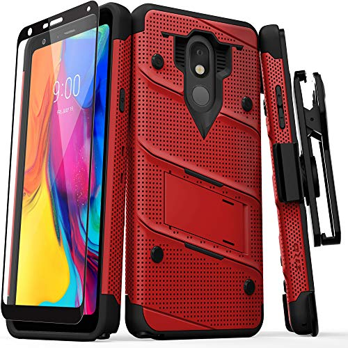ZIZO Bolt Series LG Stylo 5 Case Military Grade Drop Tested with Full Glass Screen Protector Holster and Kickstand Red Black