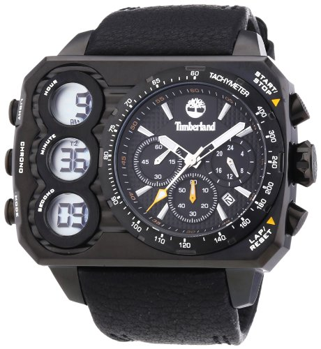 Timberland TBL.13673JSB/02 - Reloj analógico-Digital para Caballero de Cuero Resistente al Agua Negro