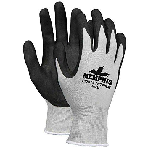 Nitrile Dipped Foam Gloves, Medium, Gray/Black, 13 Gauge, 9673S - Lot of 12