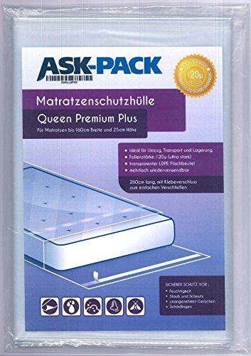ASK Pack Premium Matratzenschutzhülle Queen für bis zu 160cm breite / 25cm hohe / 220cm Lange Matratze - mit vielfach wiederverwendbarem KLEBEVERSCHLUSS - Ultra stark 120µ