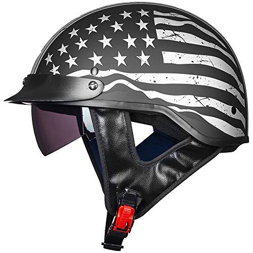 ILM Half Helmet Motorcycle Open Face Sun Visor Quick Release Buckle DOT Approved Cycling Motocross Suits Men Women (M, Patriotic Flag)
