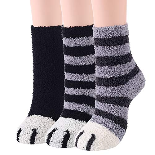 Zando Women's Fuzzy Socks Warm Cute Fuzzy Socks Indoor Slipper Socks Cozy Sleeping Socks Winter Fluffy Socks Super Soft Plush Socks Microfiber Sleep Socks for Girls 3 Pairs Cute Cat Paw One Size