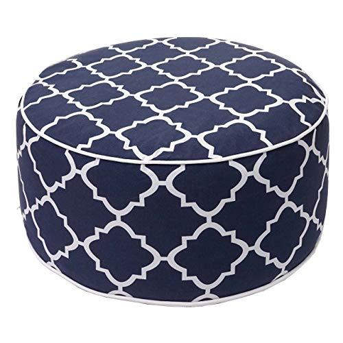 Mendler Sitzhocker HWC-G31, Pouf Sitzkissen Sitzsack Gartenhocker, Spun Poly In-/Outdoor 29x55cm ~ blau-weiß
