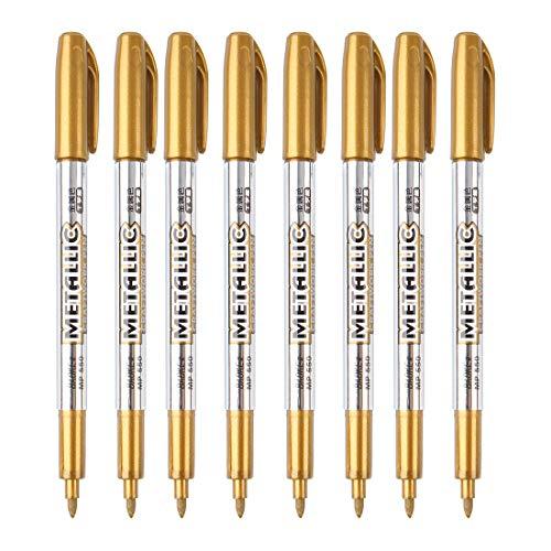 MyArTool Metallic Marker Pens, Gold Metallic Permanent Markers for...