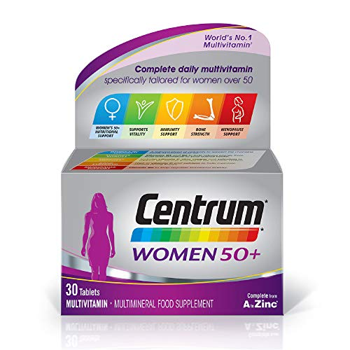 Centrum Women 50 Plus Multivitamins and Minerals tablet | 30 tablets (1 month supply) | 24 essential nutrients Vitamins and Minerals tailored for women over 50 l Vitamin D | Complete from A - Zinc*