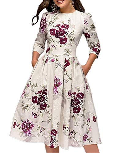 Cóctel Floral para Mujer de los años 50 Vestidos Retro Vin
