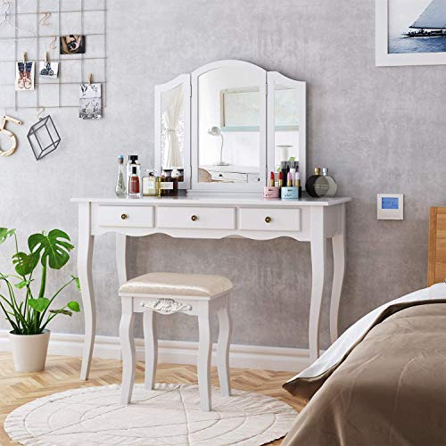 HOMECHO Tocador de Dormitorio Mesa Tocador para Maquillaje de Madera Blanca, con 3 Cajónes 3 Espejos Plegados 1 Taburete Tapizados, 108 x 45 x 134 cm