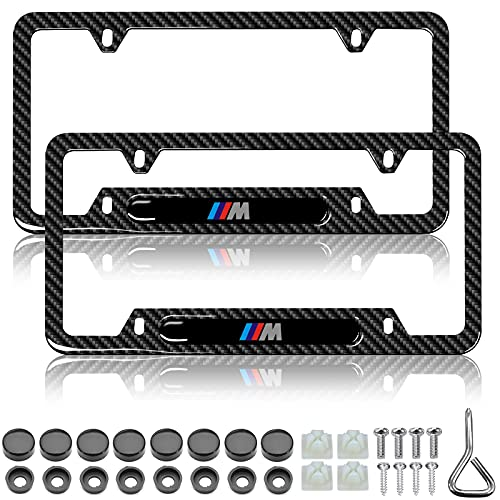 YIDEXIN 2Pcs License Plate Frames for BMW Premium Black Steel Carbon Fiber Logo License Plate Cover Holder Compatible All Vehicle License Plate Tag Cover Fit Accessories Included (2Pack- for BMW-M)