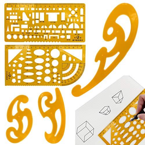 YLX Kunststoff Mess Lineal, Gebäude Schalung SchablonenGeometrische Zeichnung Herrscher für Büro, Schulbedarf, EIN wirklich idealer Lernhelfer (5 Stücke)