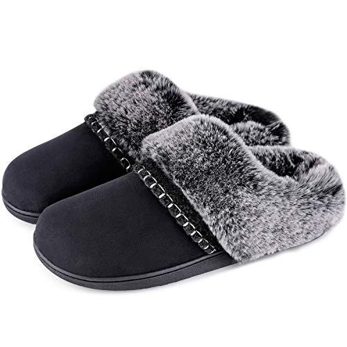 LongBay Women's Fluffy Fur Collar Slippers Comfortable Micro...