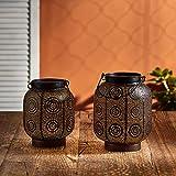 Lights4fun - Set di 2 Lanterne Solare di Metallo Nero in Stile Marocchino per Uso in Esterni