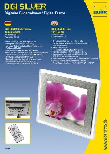 Dörr 901223 Digitaler Bilderrahmen 26,4 cm (10,4 Zoll) Silber - Digitaler Bilderrahmen (26,4 cm (10,4 Zoll), 800 x 600 Pixel, LCD, 4:3, JPG, CF, USB-Stick (MS), MMC, MS PRO, SD, xD)