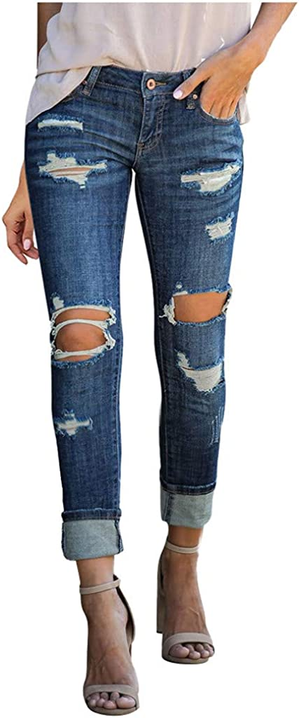 Jeans for Women,Women's Casual Stretchy Mid Waisted Skinny Hole Denim Button Slim Pants Calf Length Jeans